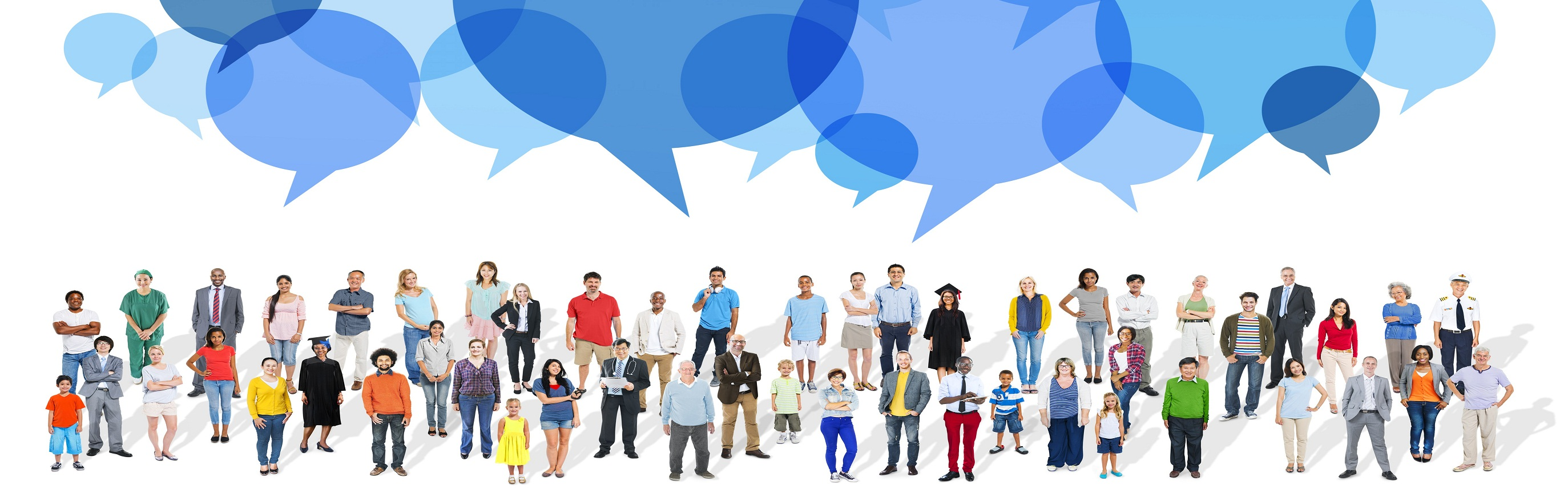 Large Group of People with Speech Bubbles